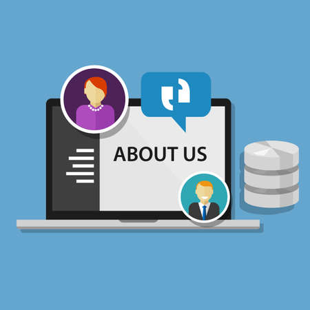 about: about us page concept icon concept vector data profile company