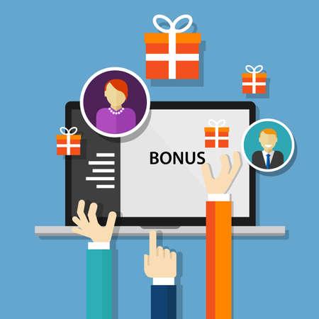 empleados trabajando: recompensa empleado bono beneficia oferta de promoción de vectores