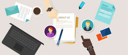 about us page concept icon draft profile company vector