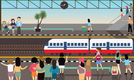 tren caricatura: estación de tren ocupado ilustración vectorial ciudad plana ilustración de dibujos animados de transporte Vectores
