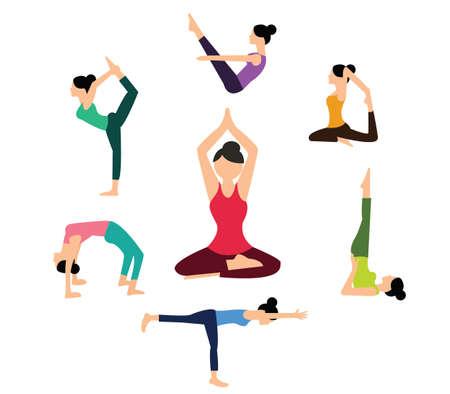 forme et sante: femme yoga pose position physique couleur santé vecteur plat pilates athlétique