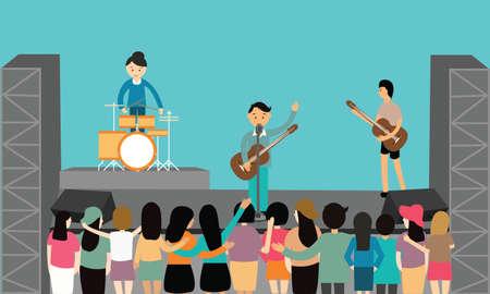 concierto de rock: concierto de música de vectores plana divertido juego de instrumentos de dibujo joven