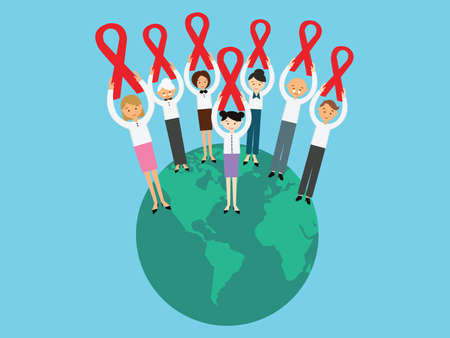 alert ribbon: world AIDS day ribbon awareness people together globe care Illustration