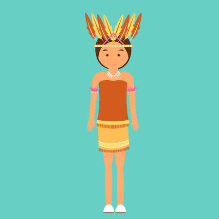 indonesian: indonesian traditional clothes woman dress irian papua vector cartoon costume asian flat
