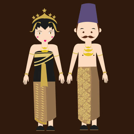 central java javanese indonesian traditional clothes woman dress vector cartoon costume asian flat Stok Fotoğraf - 49023293