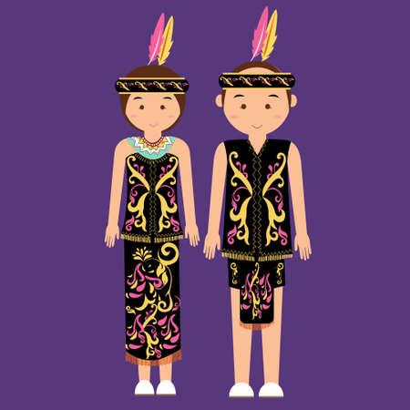 Dayak de Borneo indonesio kalimantan ropa tradicional vestido de la mujer traje de la historieta del vector asiático plana