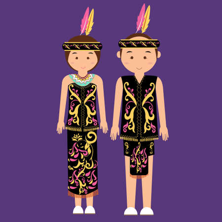 asian bride: dayak kalimantan borneo indonesian traditional clothes woman dress vector cartoon costume asian flat