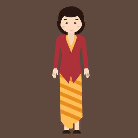 traditional clothes: indonesian traditional clothes woman dress kebaya batik vector cartoon java costume flat Illustration