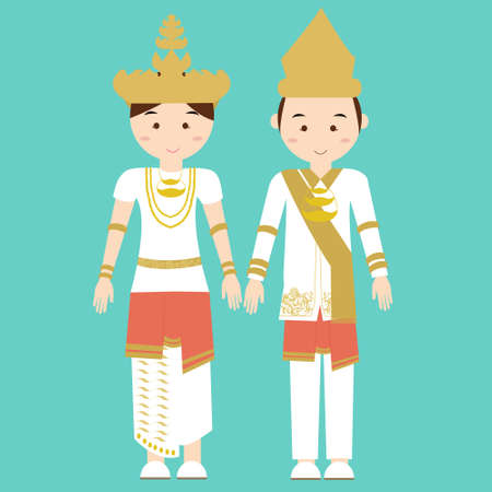 tradition traditional: lampung south sumatra malay melayu indonesian traditional clothes woman dress vector cartoon costume asian flat