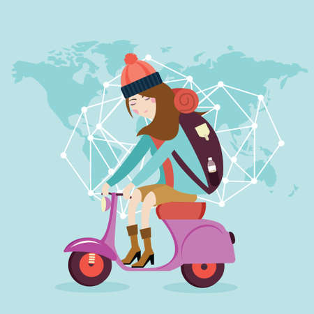 woman riding vespa bike travel around the world map bag flat Illustration