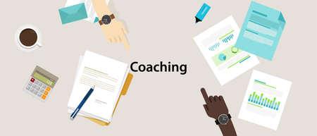 business coaching professional management training vector concept illustration Illustration