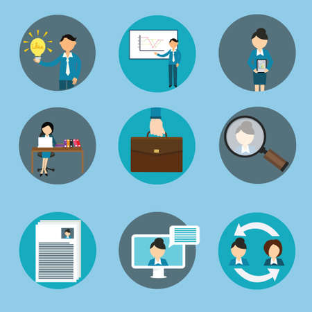 human resource: human resource management business icon set training vector