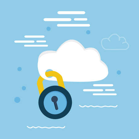 lock: cloud security pad lock icon illustration concept locked data vector