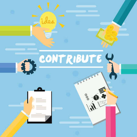 contribute: contribute contribution hand give money help work together as a team  concept vector