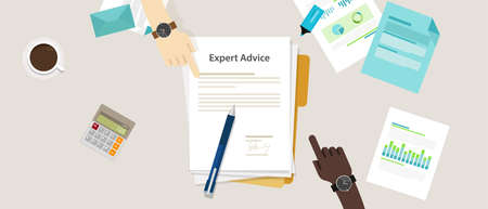 advice: expert advice vector flat illustration concept desk professional