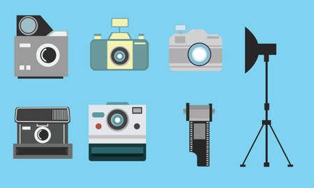 color digital camera: camera vintage flat icon set film roll photography  strobe