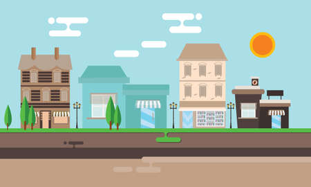 small town: street shop building flat illustration town street old vintage mall store vector