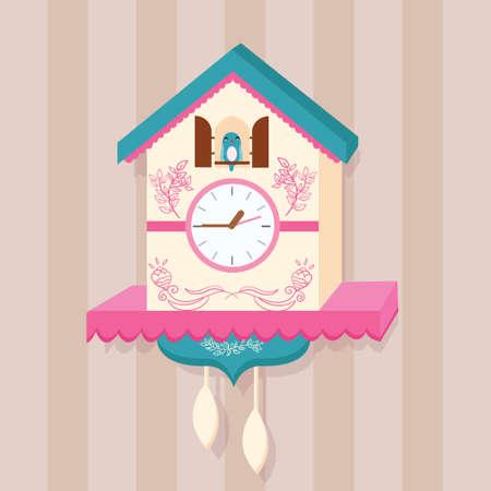 reloj cucu: reloj de cuco del vector del pájaro en la pared plana illutration linda del vector