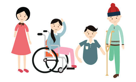 people with disabilities: world disability day disabled people vector flat illustration disable person