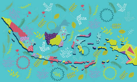 indonesia map vector illustration art pattern ornament ethnic batik drawing