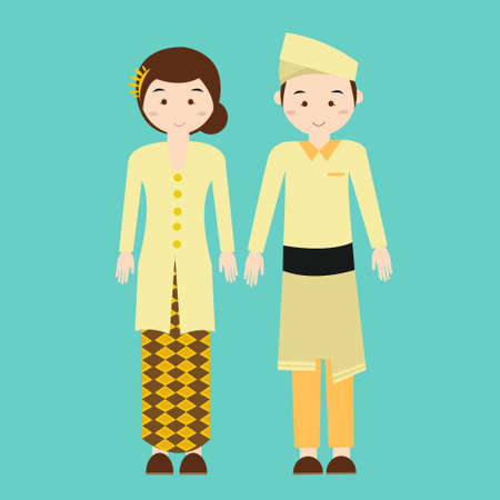 costumes: couple wear malaysia malaysian traditional clothes vector drawing illustration