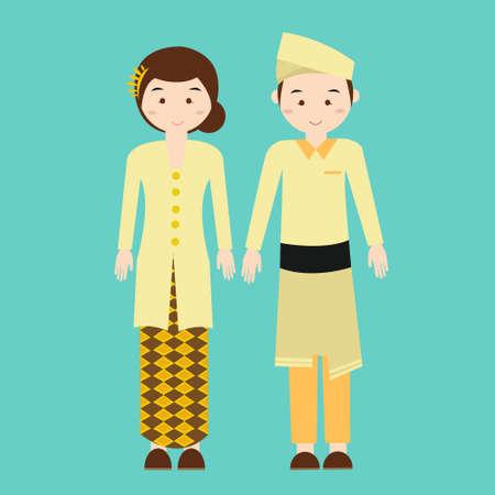 bocetos de personas: Pareja desgaste malasia malasio ropa tradicional de dibujo vectorial ilustración Vectores