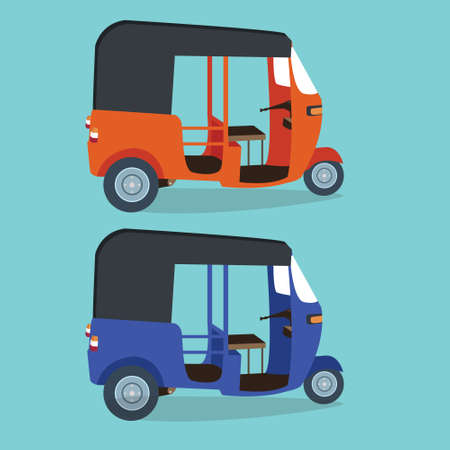 jakarta: bajaj bajai indonesia transportaion drawing flat vector illustration jakarta urban icon transport orange blue drawing