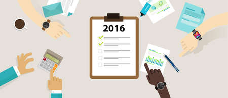 the list plan: 2016 year target check list business review target plan resolution vector Illustration