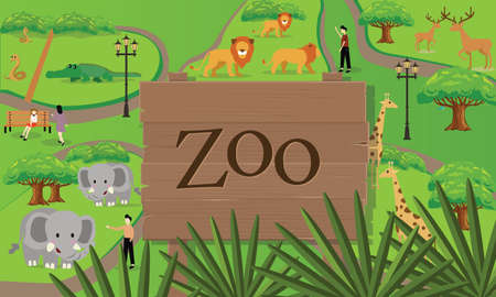 entrance sign: zoo animals map sign board wood nature vector drawing illustration Illustration