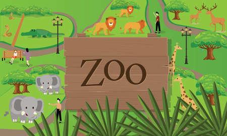 entrance: zoo animals map sign board wood nature vector drawing illustration Illustration