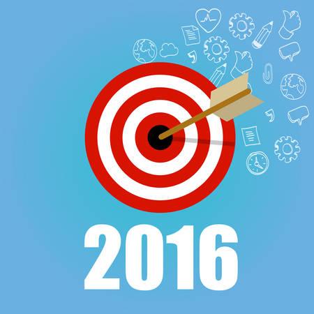 OBJETIVOS: 2016 metas resolución de destino nueva junta lápiz marca de verificación del vector del Año plana ilustración gráfica concepto de dibujo