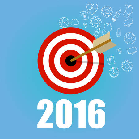 goal: 2016 target resolution goals new year check mark pencil board flat vector graphic illustration concept drawing