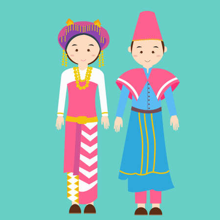 asian children: couple men woman wearing traditional wedding clothes of north sumatra indonesia