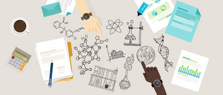 scientific research: science icon biology lab sketch drawing illustration chemistry laboratory desk research collaborate team work vector