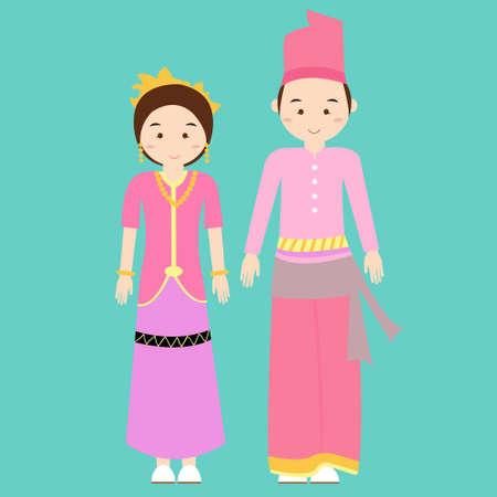 indonesia girl: traditional clothes nusa tenggara barat indonesia ethnic cloth vector couple pakaian adat wearing