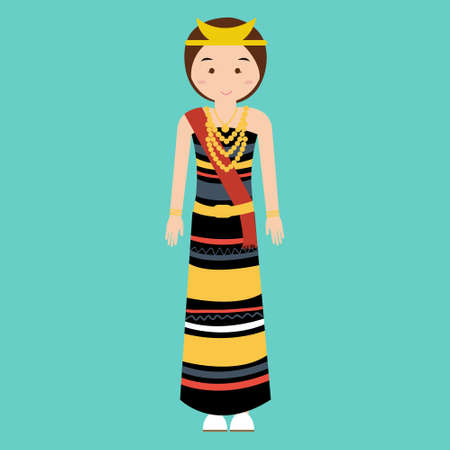 indonesian: traditional clothes nusa tenggara timur NTT indonesia ethnic cloth vector pakaian adat vector