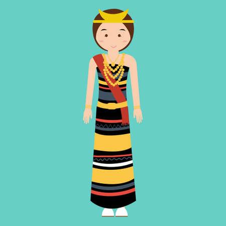 south asian: traditional clothes nusa tenggara timur NTT indonesia ethnic cloth vector pakaian adat vector