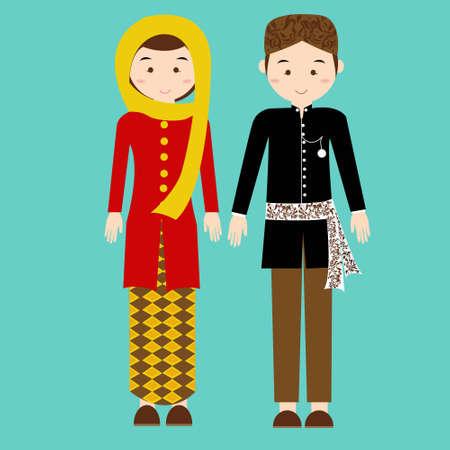 jakarta: traditional clothes betawi jakarta indonesia ethnic cloth vector couple pakaian adat illustration