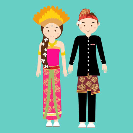 asian culture: bali balinese couple men woman wearing traditional wedding clothes indonesia vector illustration