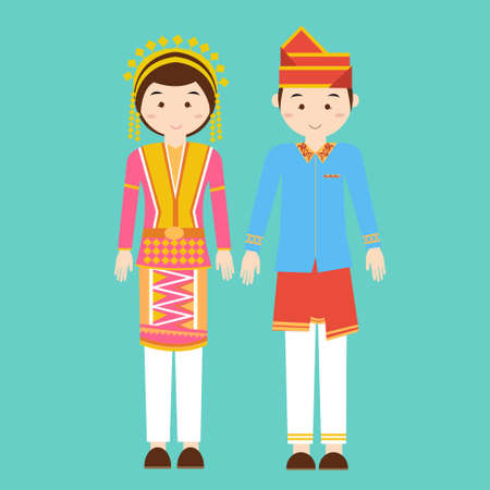 indonesian girl: aceh north sumatra couple men woman wearing traditional wedding clothes indonesia pakaian adat vector Illustration