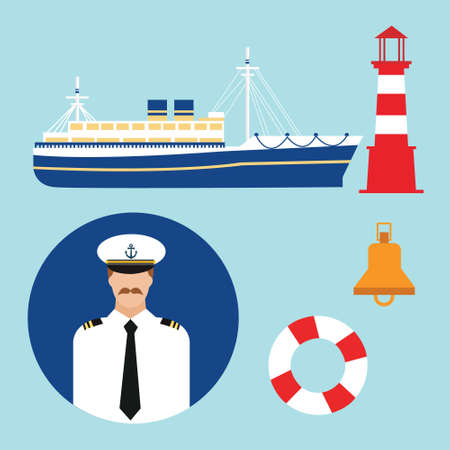 ship captain: cruise ship captain vector boat sailor icon set nautical lighthouse  marine sea travel transportation Illustration