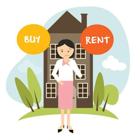 comprar o alquilar casa de apartamentos casa Mujer decidir ilustración vectorial compra alquilar dibujo Ilustración de vector
