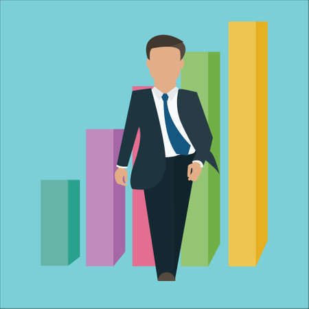 confidence: business man walking standing confident confidence with growth bar chart vector