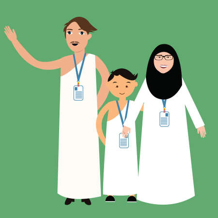 pilgrim costume: family haj hajj pilgrim man father mother woman kids wearing islam hijab ihram clothes vector illustration cartoon