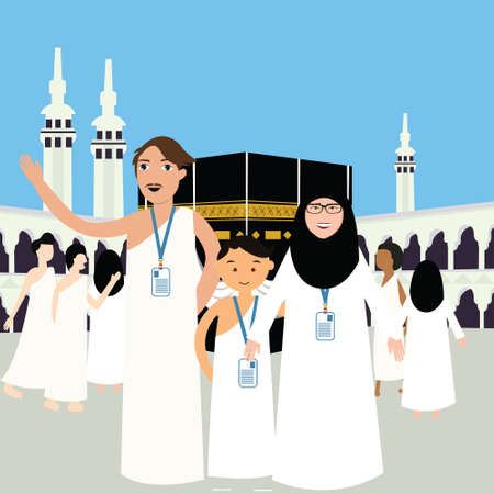 islamic: family haj hajj pilgrim man father mother woman kids wearing islam hijab ihram clothes vector illustration mecca kaba kabba kaba vector