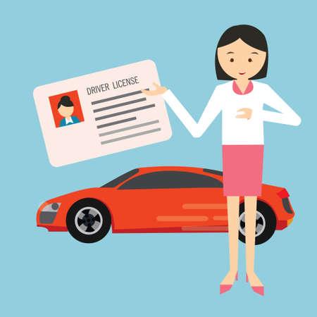 chofer: carné de conducir del conductor demostración de la mujer que sostiene en el vector coche delantero