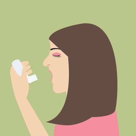 bronchial asthma: woman asthma holding inhaler illnes vector cartoon flat illustrationj breath medical health issue Illustration
