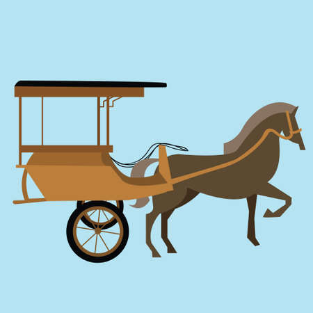 horse carriage cart asia vector delman old traditional transportation illustration