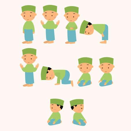 orando: niños rogación ruegue Shalat islam musulmán muchacho mudanza a dios