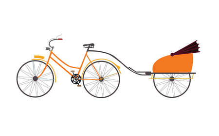 indian rickshaw vector illustration travel transportation pull by bicycle cartoon Illustration